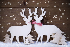 Christmas Decoration, Reindeer Couple In Love, Tree, Snowflakes Royalty Free Stock Photography