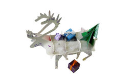 Christmas decoration reindeer with gifts on a white Royalty Free Stock Images