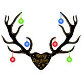 Christmas decoration on Reindeer horns, silhouette isolated on white