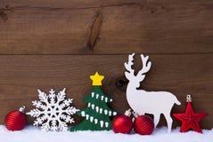 Christmas Decoration, Reindeer, Snow, Green Tree, Balls Stock Photo