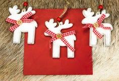 Reindeer decoration on Xmas envelope Royalty Free Stock Photo