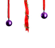 Christmas decoration with ribbons and baubles Royalty Free Stock Image
