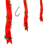 Christmas decoration with ribbons and fishing hoo Stock Photo