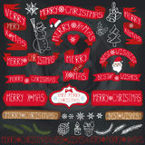 Christmas decoration,ribbons,labels,lettering.Chalkboard. Christmas season decorations.Label, ribbons,spruce branches,lettering,snowflakes, snowman and doodle Stock Images