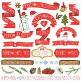 Christmas decoration,ribbons,labels,lettering.Colored. Christmas season decorations.Label, ribbons,spurce branches,lettering,snowflakes, snowman and doodle royalty free illustration