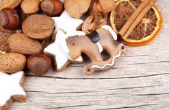 Christmas decoration with rocking horse on wood Royalty Free Stock Photo