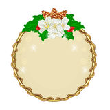 Christmas decoration round frame with flowers vector Stock Images