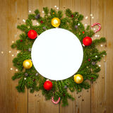 Christmas Decoration Round Frame, vintage Stock Image