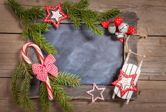 Christmas decoration with rustic chalkboard Stock Photo