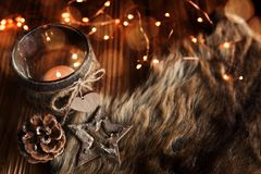 Christmas decoration on rustic wood royalty free stock photos
