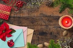 Christmas decoration on wooden background royalty free stock photos