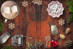 Christmas decoration on rustic wooden background. Christmas decoration and toys on rustic wooden background Stock Photo