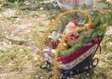 Christmas decoration Santa Claus. In a carriage stock photos