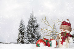 Christmas decoration with Santa Claus figurine in the snow Stock Photography