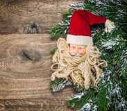 Christmas decoration Santa Claus with red hat. Vintage style vig Royalty Free Stock Photo
