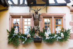 Christmas decoration with Santa  Claus in Riquewihr; Royalty Free Stock Images