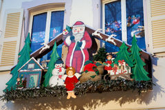 Christmas decoration with Santa Claus in Strasbourg royalty free stock photography
