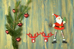 Christmas decoration, santa claus on wooden table Royalty Free Stock Images