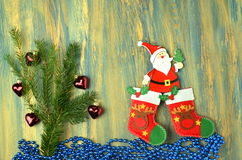 Christmas decoration, santa claus on wooden table Royalty Free Stock Photo