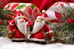 Christmas decoration with santa clauses Royalty Free Stock Photography