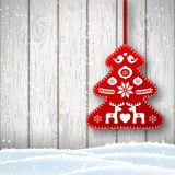 Christmas decoration in scandinavian style, red rich decorated tree in front of white wooden wall, illustration Stock Photo
