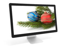 Christmas decoration on screen Stock Photos