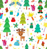 Christmas decoration seamless pattern. Background with graphic elements. Toys, hand drawn gifts, engraving fur-trees, deer and gifts socks. New Year Royalty Free Stock Photos
