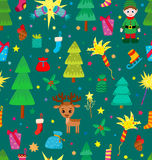 Christmas decoration seamless pattern. Background with graphic elements. Toys, hand drawn gifts, engraving fur-trees, deer and gifts socks. New Year Royalty Free Stock Image