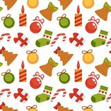 Christmas decoration seamless pattern background vector New Year winter holiday greeting card design stock illustration