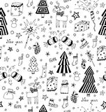 Christmas decoration seamless pattern. Toys, hand drawn gifts, engraving fur-trees, deer and gifts socks. Stock Image