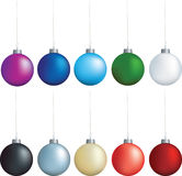 Christmas decoration set. Christmas decorations set of coloured baubles on white Stock Photos