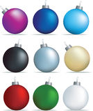 Christmas decoration set. Christmas decorations set of coloured baubles on white Royalty Free Stock Photos