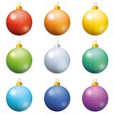 Christmas decoration, set balls. Christmas holiday decoration, set of balls all colors of the rainbow. Eps10, contains transparencies vector illustration