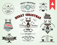 2015 Christmas decoration set of calligraphic and typographic elements Stock Photos