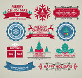 Christmas decoration, Set of calligraphy and typography signs. Labels, frames, stickers, ribbons Royalty Free Stock Photo
