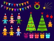 Christmas Decoration Set with children Royalty Free Stock Photography