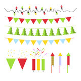Christmas decoration set for Christmas tree and. Interior in flat style Royalty Free Stock Image