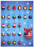 Christmas decoration set with different International flags. Christmas realistic colorful balls hanging. Royalty Free Stock Images