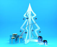 Christmas decoration set. Decoration set for Christmas event on blue background Royalty Free Stock Photography