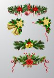 Christmas elements for your designs. Christmas decoration set with evergreen treess pine cones and poinsettia isolated vector royalty free illustration