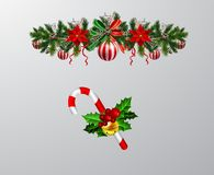 Christmas elements for your designs. Christmas decoration set with evergreen treess pine cones and poinsettia isolated vector stock illustration