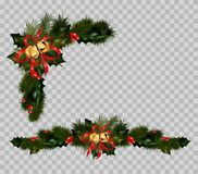 Christmas decoration set of fir and holly wreath. Christmas jingle bells. Vector New Year winter holiday greeting card decoration isolated on transparent Royalty Free Stock Photos