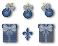 Christmas decoration set with fleur de lis motif. On white royalty free illustration