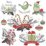 Christmas decoration set of gifts, animals toys, sweets and emblems. Royalty Free Stock Images