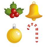 Christmas decoration set icons. Vector illustration design Stock Image