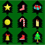 Christmas decoration set. Christmas items graphic vector set Stock Photos