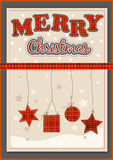Christmas decoration set. Lettering, stars, ribbon, bow Royalty Free Stock Photos