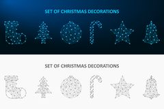Christmas decoration set made by dot and line. Low poly holiday ornaments polygonal wireframe mesh. Vector. Christmas decoration set made by dot and line. Low stock illustration