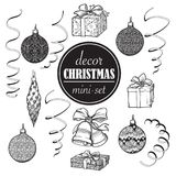 Christmas decoration set. Set of popular christmas decorative objects. Accurate brightly painted hand drawings isolated. Christmas decoration set. Set of popular Royalty Free Stock Images