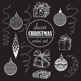 Christmas decoration set. Set of popular christmas decorative objects. Accurate graphic design elements isolated on. Black background. EPS10 vector illustration Stock Photos